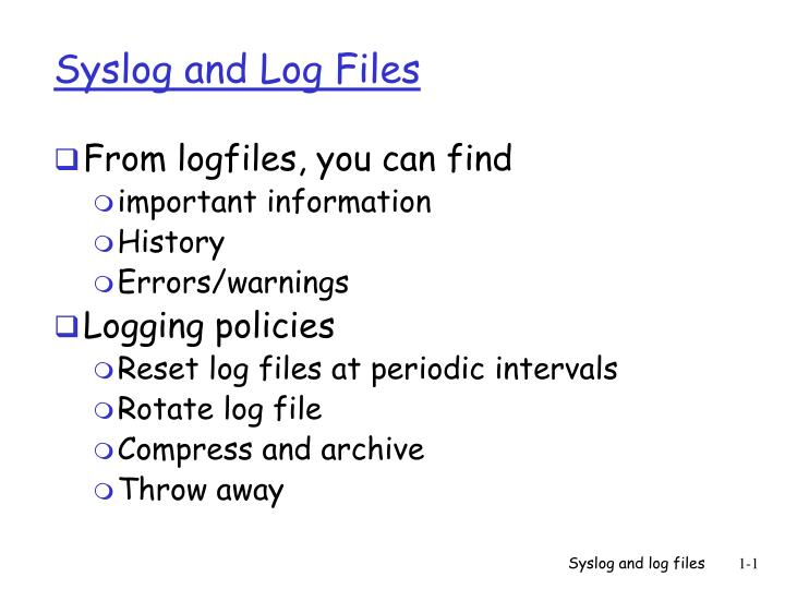 syslog and log files n.