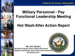 Military Personnel - Pay Functional Leadership Meeting Hot Wash/After Action Report