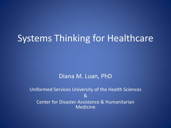 systems thinking for healthcare n.