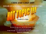 CHM 434F/1206F 2009 SOLID STATE MATERIALS CHEMISTRY