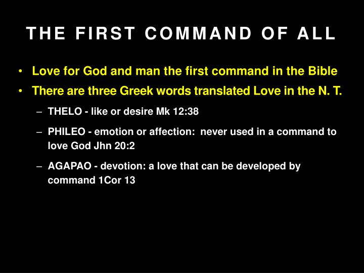 the first command of all n.