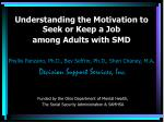 Understanding the Motivation to Seek or Keep a Job  among Adults with SMD