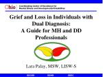 Grief and Loss in Individuals with Dual Diagnosis: A Guide for MH and DD Professionals