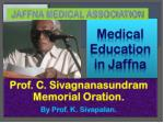 Medical Education in Jaffna