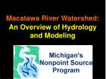 Macatawa River Watershed: An Overview of Hydrology and Modeling