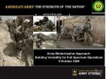 Army Modernization Approach: Building Versatility for Full Spectrum Operations 5 October 2009