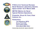 METOC Metrics for Naval  Special Warfare Operations Presenter: Bruce W. Ford, Clear Science, Inc.