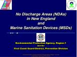No Discharge Areas (NDAs) in New England  and Marine Sanitation Devices (MSDs)