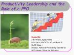Productivity Leadership and the Role of a PPO