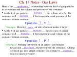 Ch. 13 Notes– Gas Laws