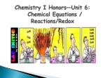 Chemistry I Honors—Unit 6: Chemical Equations / Reactions/ Redox