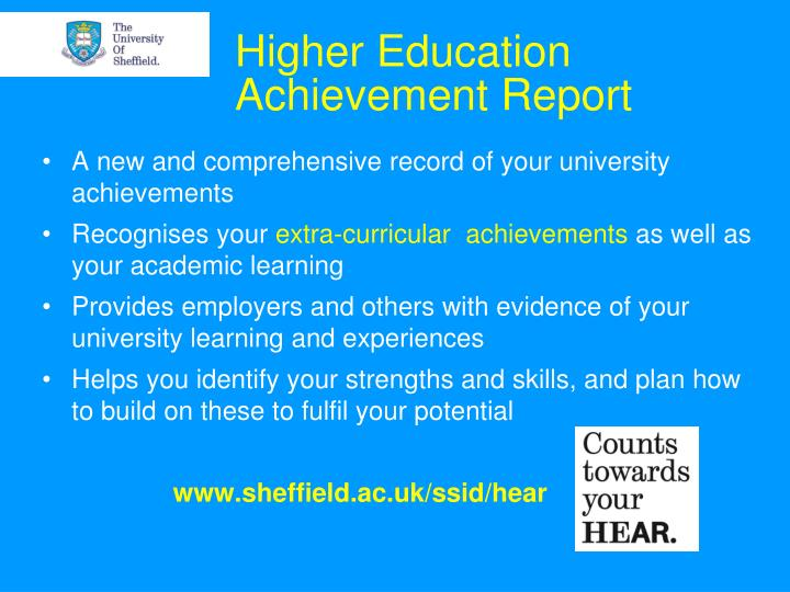 higher education achievement report n.