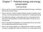 Chapter 7 - Potential energy and energy conservation