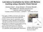 Low-latency localization by Active LED Markers tracking using a Dynamic Vision Sensor