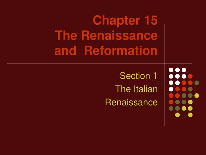 chapter 15 the renaissance and reformation n.