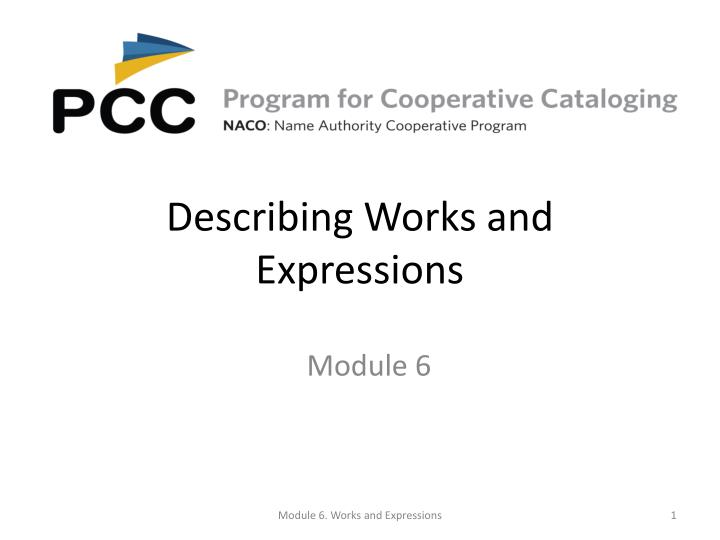 describing works and expressions n.