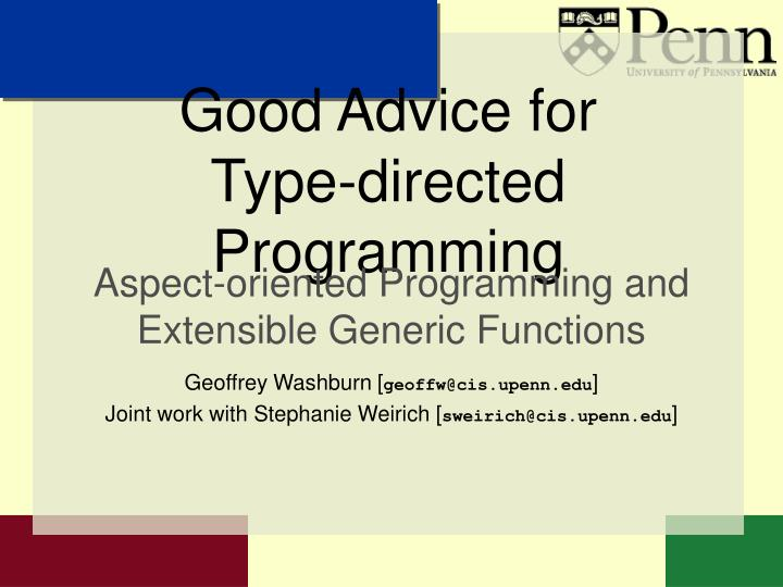 good advice for type directed programming n.