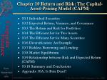 Chapter 10 Return and Risk: The Capital-Asset-Pricing Model (CAPM)