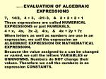 Lesson 14 EVALUATION OF ALGEBRAIC EXPRESSIONS