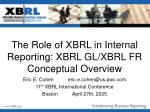 The Role of XBRL in Internal Reporting: XBRL GL/XBRL FR Conceptual Overview