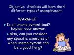 Objective: Students will learn the 4 different types of unemployment.