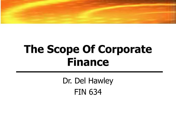 the scope of corporate finance n.