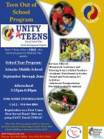 Unity 4 Teens offers a  FREE   after school program for Students who qualify. School Year Program: