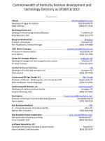 Commonwealth of Kentucky biomass development and technology Directory as of 08/01/2010