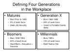 Defining Four Generations in the Workplace