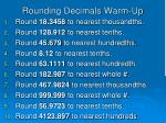Rounding Decimals Warm-Up