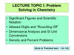 LECTURE TOPIC I: Problem Solving in Chemistry