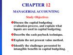 CHAPTER 12 MANAGERIAL ACCOUNTING