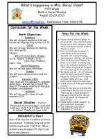 Curriculum for the Week: Math Objectives Numbers
