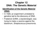 Chapter 12 DNA: The Genetic Material