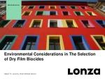 Environmental Considerations in The Selection of Dry Film Biocides
