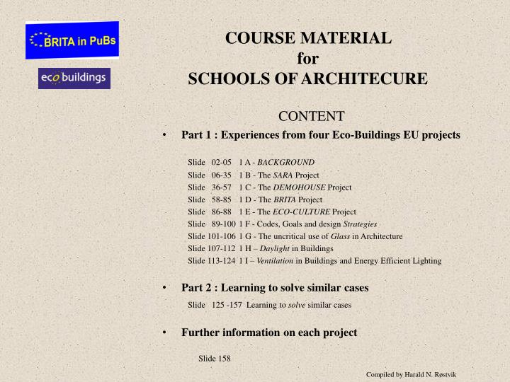 course material for schools of architecure n.