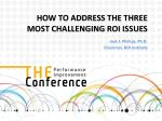 HOW TO ADDRESS  THE THREE MOST CHALLENGING  ROI  ISSUES