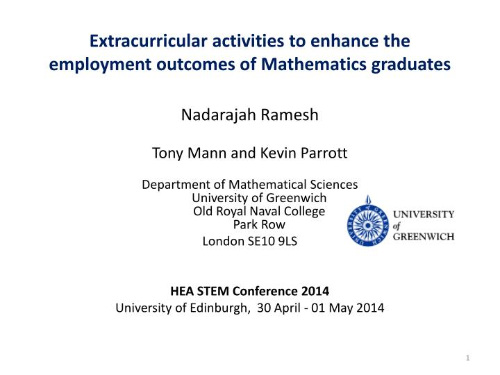 extracurricular activities to enhance the employment outcomes of mathematics graduates n.
