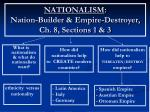 NATIONALISM : Nation-Builder & Empire-Destroyer, Ch. 8, Sections 1 & 3