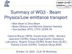Summary of WG3 - Beam Physics/Low emittance transport