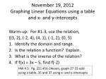 November 19, 2012 Graphing Linear Equations using a table and x- and y-intercepts