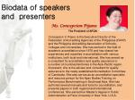 Biodata of speakers and presenters
