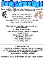 Come and join EME parents, teachers, and students for a night filled with science fun.
