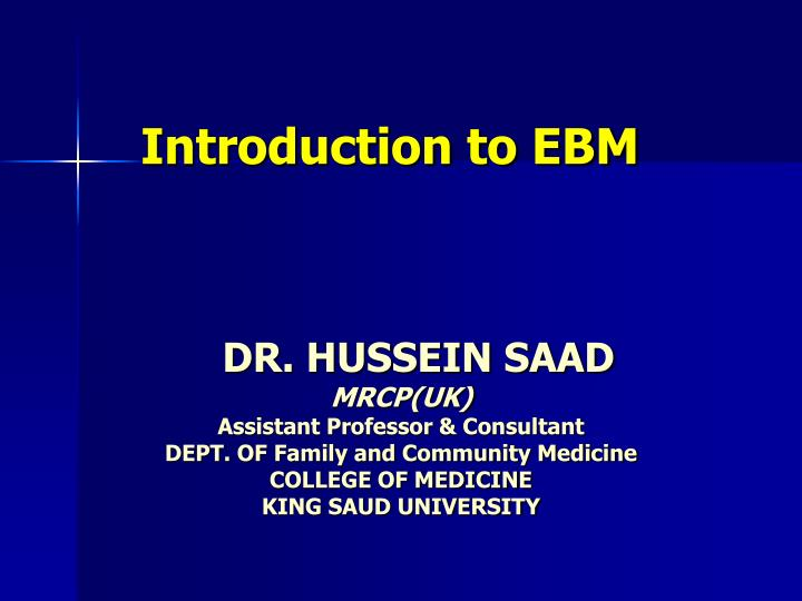 introduction to ebm n.