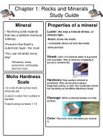 Chapter 1: Rocks and Minerals 	 Study Guide