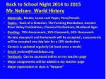 Back to School Night 2014 to  2015 Mr. Nelson:  World History