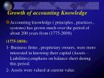 Growth of accounting Knowledge