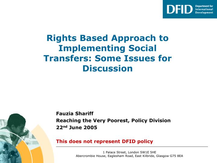 rights based approach to implementing social transfers some issues for discussion n.