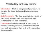 Vocabulary for Essay Outline