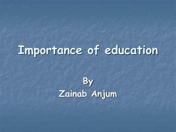 importance of education n.